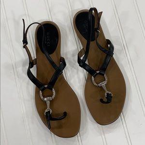 Gucci Black Horsebit Flat Thong Sandals - sz 39